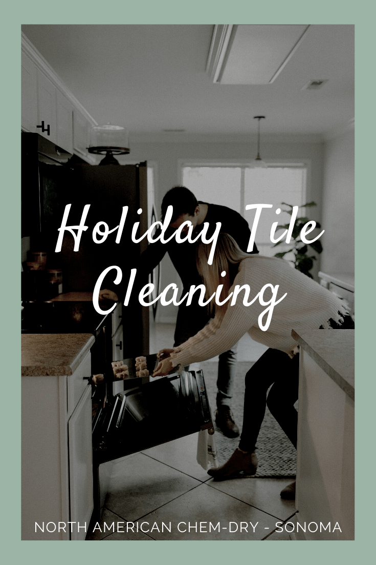 a couple baking cookies in a kitchen with tiles professionally cleaned by North American Chem-Dry