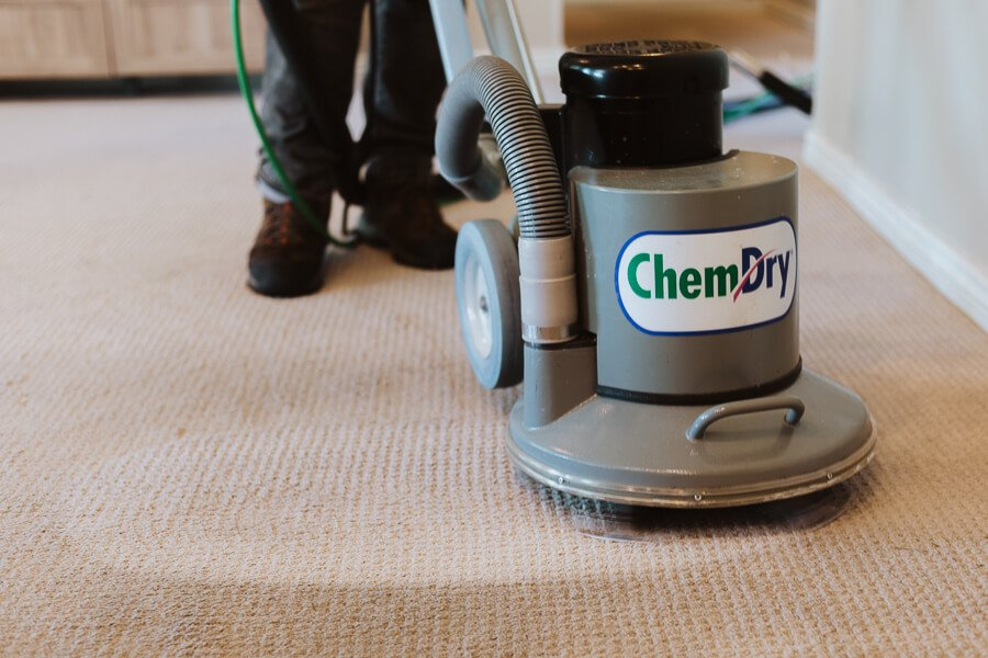 a chem-dry carpet cleaning machine at work